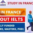 Scholarships in France Without IELTS - Fully Funded   2021-2022